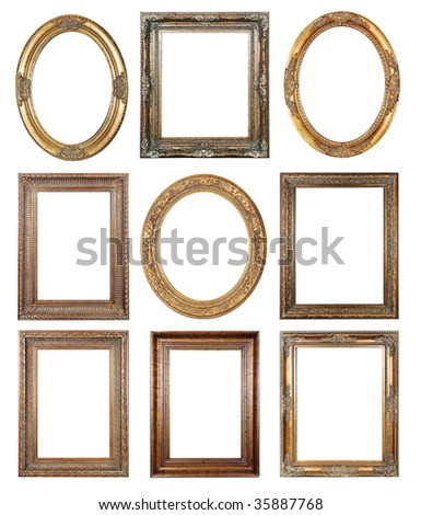 Picture gold frames with a decorative pattern - stock photo