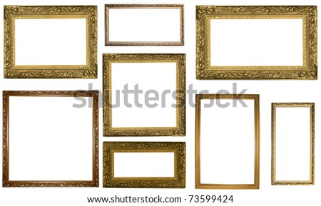picture gold frames with a decorative pattern on white - stock photo