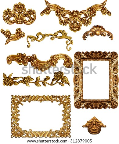 picture  golden antique frames Set Vintage isolated  on white background - stock photo