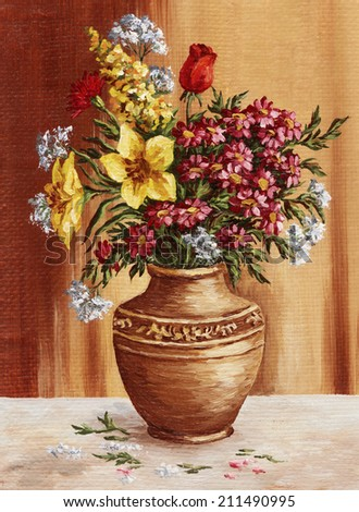 Picture hand-draw oil painting on canvas, garden flowers in a clay amphora - stock photo