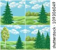 Picture, hand-draw: set landscapes, green summer forest - stock photo