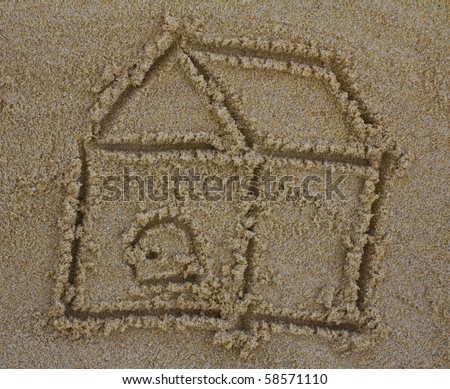 """picture """"Home"""" drawing in the sand on the beach - stock photo"""