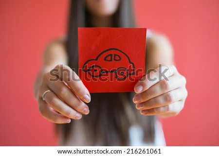 Picture icon car in hand - stock photo