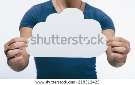 Picture icon clouds in hand - stock photo