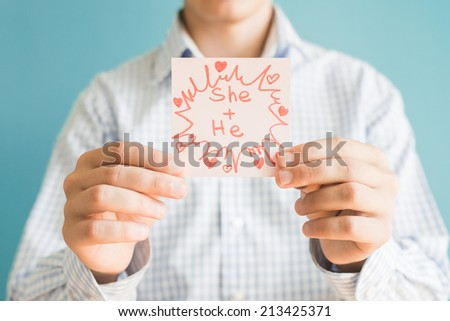 Picture icon in the hand she - stock photo