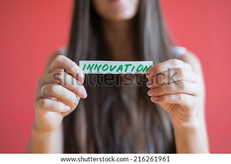 Picture icon innovation in hand - stock photo