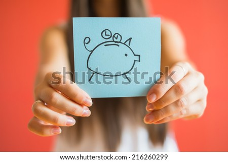 Picture icon piggy bank in hand - stock photo