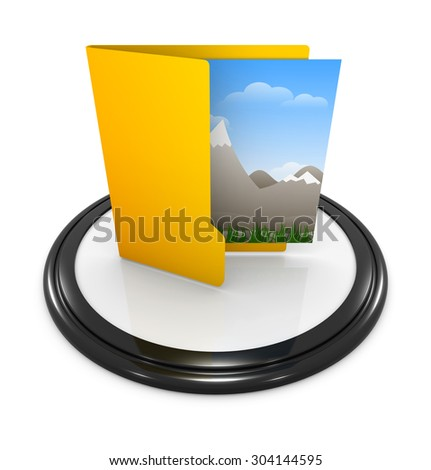 Picture in folder , This is a computer generated and 3d rendered image. - stock photo