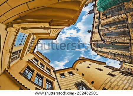 Picture in the sky among the public buildings of the historic old town of Prague. - stock photo