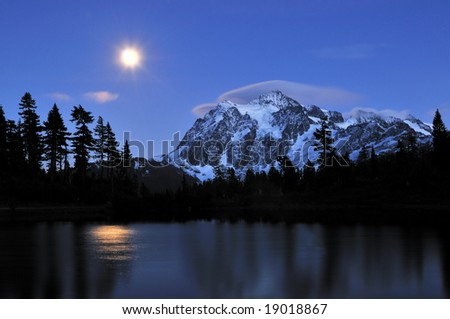 picture lake and mount shuksan - stock photo