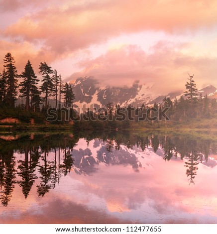 Picture Lake at sunset - stock photo