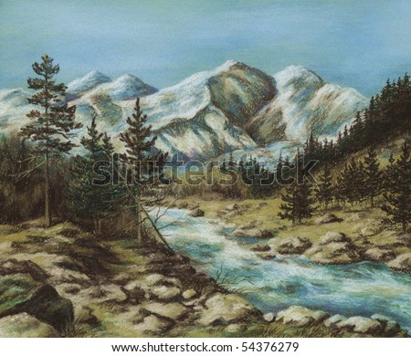 Picture, landscape, Russia, Altay. Drawing a pastel on a cardboard