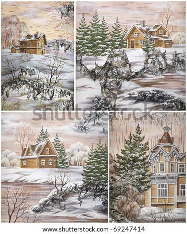 Picture, landscape. Russia, Siberia, wooden buildings. Drawing distemper on a birch bark - stock photo