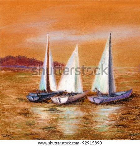 Picture, landscape. Yachts float on the sea. Hand draw, pastel on a cardboard - stock photo