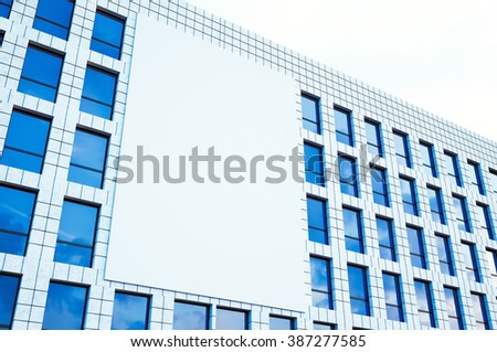 Picture large blank billboard, display on modern skyscraper in center big city for advertising. Horizontal mockup. 3d render - stock photo