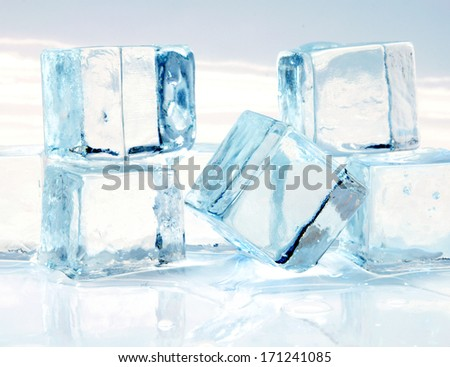 picture melting ice cubes on white background