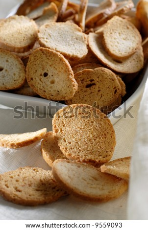 Picture of a bake rolls in a white plate - stock photo