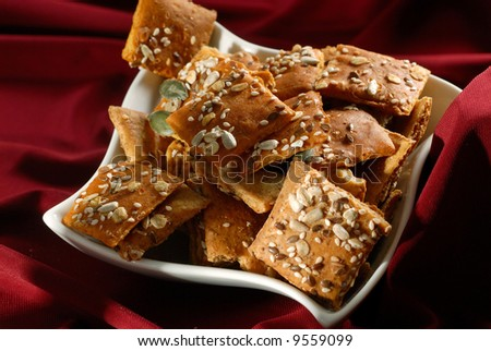 Picture of a bake snack in a white plate - stock photo
