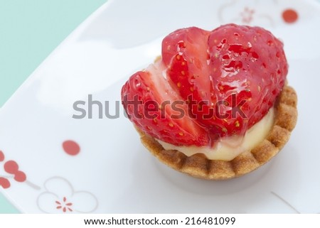 Picture of a baked dessert with strawberry - stock photo
