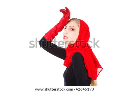 Picture of a beautiful alluring young girl in red gloves