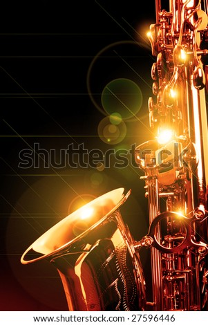 picture of a beautiful golden saxophone - stock photo