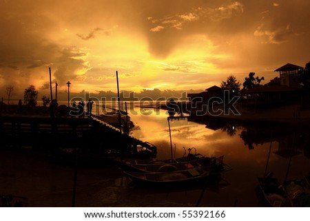 picture of a beautiful sunset on the sea - stock photo