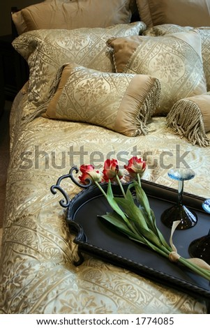 Picture of a bed set up very nice - stock photo