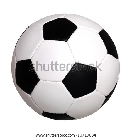 Picture of a black and white leather soccer ball