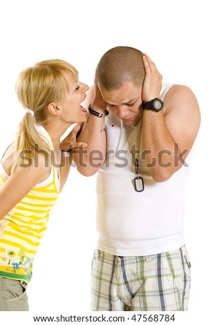 picture of a blonde woman shouting and screaming at her boyfriend