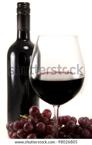 Picture of a bottle of red wine, and a few grapes