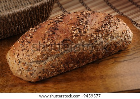 Picture of a bread on a wooden desk - stock photo