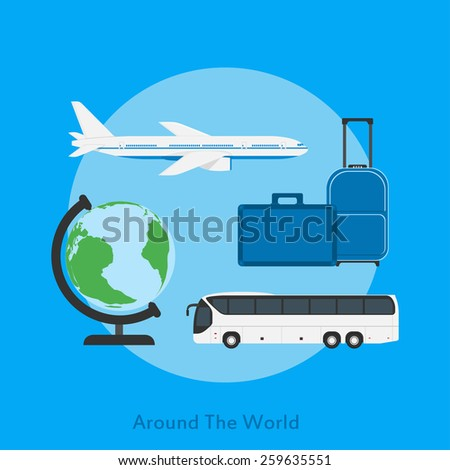 picture of a bus, plane, globe and travel bags, flat style illustration, traveling, vacation concept - stock photo