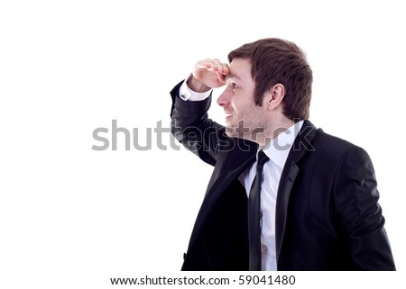 picture of a business man looking forward to the future over white - stock photo
