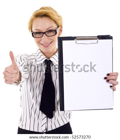 picture of a businesswoman holding a clipboard and making ok gesture - stock photo