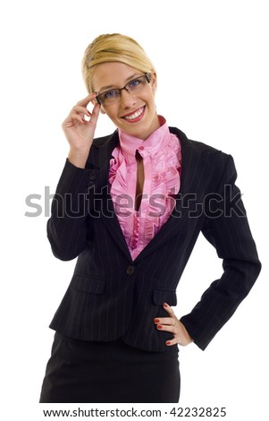 picture of a Businesswoman Wearing Glasses and holding them