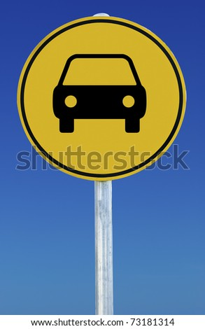 Picture of a car on a yellow road sign on a blue background.