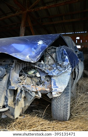 Picture of a car wreck. Safety driving concept - stock photo