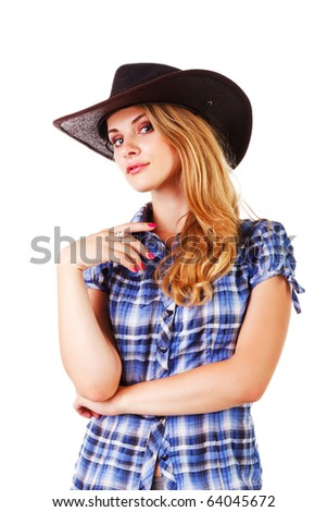 Picture of a charming lady in cowboy hat on white background - stock photo