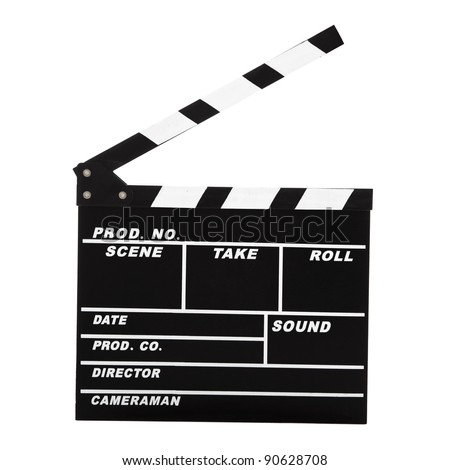 Picture of a Clapboard isolated on a white background