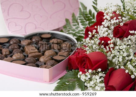 Picture of a dozen Red Roses on white background with Heart Shaped Box ...