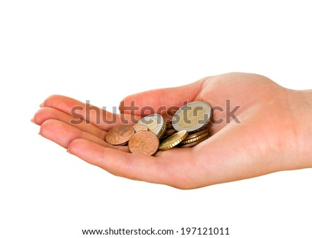 Picture of a female palm holding euro coins - stock photo