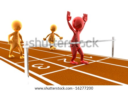 Picture of a finish line with a red character winning the race. Concept of winning, achievement, reaching a goal,... - stock photo