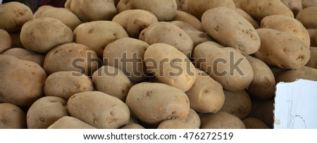 picture of a Fresh organic  potatoes for  sale on farmer market