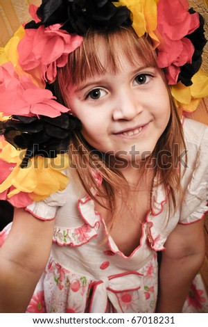 Picture of a funny little girl playing  model - stock photo