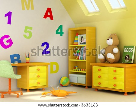 Picture of a girl, book covers, and design on the wall are my own images. 3D rendering of a children room - stock photo