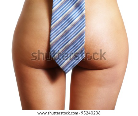 Picture of a girl's buttocks with tie - stock photo