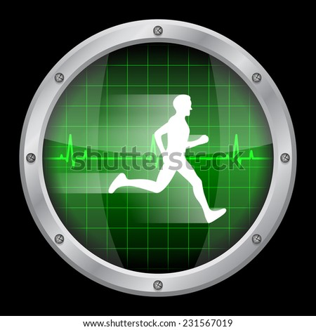 picture of a glass display on black background with white running man inside it and a heartbeat diagram - stock photo