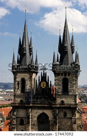 Picture of a Gothic church in old town square of Prague - stock photo