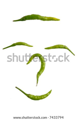 Picture of a green hot peppers on a white background - stock photo