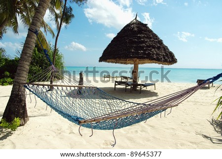 Picture of a hammock in a heavenly resort - stock photo